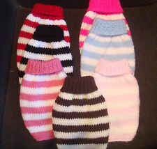"""hand knitted puppy coat - jumper  tiny xxs small 6""""- STRIPES- chihuahua  etc"""