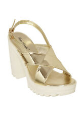Bruno Manetti Women Golden Faux Leather Sandals (4452-Golden)
