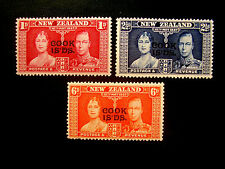 """COOK ISLANDS 1937 CORONATION New Zealand 3 Values to 6d O/P  """"COOK IS'DS."""" M/H."""