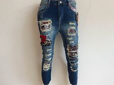 COOLE BAGGY BOYFRIEND DESTROYED JEANS VINTAGE PATCHES HOSE GR.L-4XL 36/46 NEU