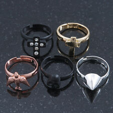 Set Of 5 Knuckle Rings (Gold Cross, Rose Gold Swallow, Crystal Black Cross, Silv