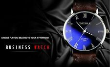 Fashion Men's Stainless Steel Leather Military Sport Analog Quartz Wrist Watch