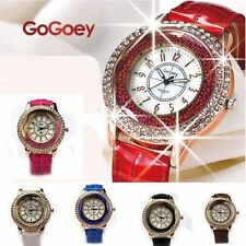 Gogoey Luxury Vogue Women Girl Crystal Dial Bracelet Leather Quartz Wrist Watch