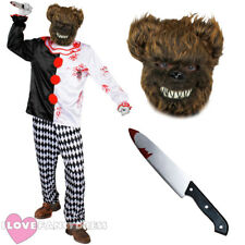 DELUXE KILLER BROWN BEAR HORROR CIRCUS FANCY DRESS COSTUME MASK KNIFE CLOWN