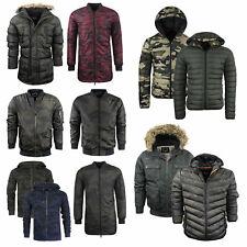 Mens Brave Soul Camo Jacket Coat Hooded Khaki Puffer Parka Bomber Padded