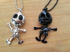 HALLOWEEN JACK SKELLINGTON NIGHTMARE B4 CHRISTMAS DISNEY NECKLACE SILVER/BLACK