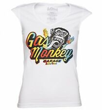 Official Women's White Fast N' Loud Gas Monkey Garage Disco Monkey T-Shirt