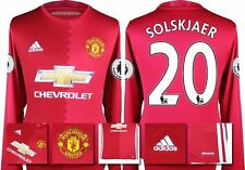 *16 / 17 - ADIDAS ; MAN UTD HOME SHIRT LS + PATCHES / SOLSKJAER 20 = SIZE*