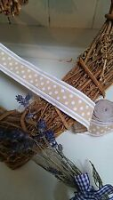 """28mm/1 1/4"""" BEIGE & WHITE SPOTTY EMBROIDERED BRAID PER METRE SEWING CRAFTS"""