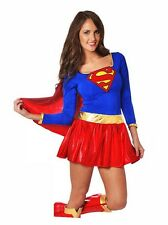 Ladies Sexy Superwoman Supergirl Dress Costume Cape Sleeved Short Dress 8 10 12