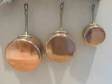 Set of 3 vintage French copper pans, tin lined, brass handles, 1.1kg