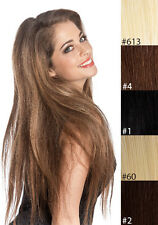 100% Real Human Hair Full Head Clip in Remy Hair Extensions Blonde Brown Black