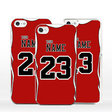 Cover CHICAGO BULLS NBA per iPhone 4 5 6 7 S C SE Plus Maglia Personalizzata
