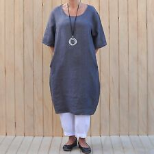 0c3cc95811 Ladies Lagenlook Quirky Quality Linen Tunic Top Dress 14 16 18 20 22 24 New  8765