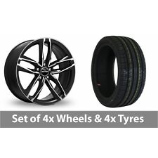 """4 x 18"""" GMP Italy Atom Black Polished Alloy Wheel Rims and Tyres -  225/40/18"""