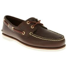 New Mens Timberland Brown Classic Boat Leather Shoes Lace Up