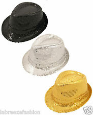 Mens Ladies Fancy Dress Gangster Hat Fedora Trilby Sequin Cap Hats Dance Party