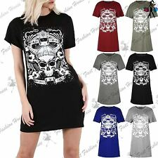 Ladies Baggy Mini Dress Womens Skull Enemy Within Living Dead Oversized Tee Top