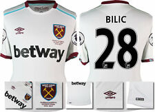 *16 / 17 - UMBRO ; WEST HAM UTD AWAY SHIRT SS + PATCHES / BILIC 28 = SIZE*