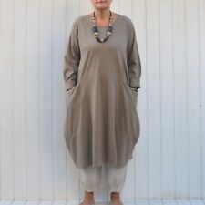 LAGENLOOK QUIRKY COTTON LADIES POCKETS DRESS WOMENS TUNIC PLUS SIZE 16-26 8760