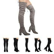 NEW WOMENS THIGH HIGH OVER THE KNEE LACE UP STRETCH LADIES BOOTS SHOES SIZE 3-8