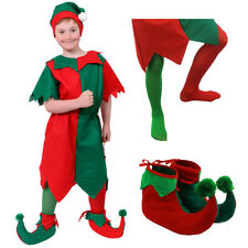 BOYS ELF COSTUME CHRISTMAS FANCY DRESS OPTIONAL ACCESSORIES CHILDS XMAS S-XL