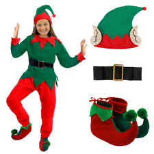 GIRLS ELF COSTUME CHRISTMAS FANCY DRESS CHILD 5 PC SANTA'S HELPER XMAS S M L XL
