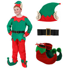 CHILD ELF COSTUME CHRISTMAS FANCY DRESS BOYS 5 PC SANTA'S HELPER XMAS S M L XL