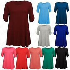 Plus Size Womens Turn Up Sleeve Swing Flared Ladies Scoop Neck Blouse Top 8-28