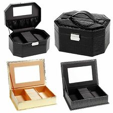 Jewellery Boxes Wth Mirror Ring Necklace Trinket Cosmetic Storage Case Organiser