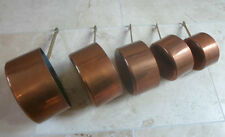 Vintage French set of 5 graduated copper pans, brass handles, 2.3kg
