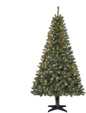 6.5 ft Artificial Christmas Tree Prelit Clear Lights Green Holiday Decorations