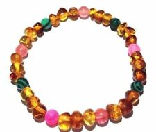 Adult Fleur Honey Baltic Amber Quartz Pink Agate Malachite Stretch Bracelet Uk