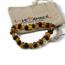 Adult Bramley Polished Green And Honey Baltic Amber Stretch Bracelet Love Amber