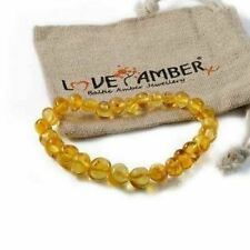 Adult Honeypot Honey Real Baltic Amber Stretch Bracelet Love Amber X Genuine Uk
