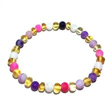 Adult Amelie Honey Baltic Amber Pink Purple Agate Stretch Bracelet Love Amber X