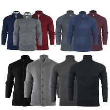 Mens Funnel Roll Polo Neck Jumper Sweater Cardigan Zip Button Pullover Size S-XL