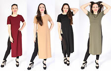 LADIES MIDI TUNIC SIDE HIGH SPLIT WOMENS LONG SLIT TOPS LADIES DRESS SIZES 8-14