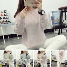 Women Casual Knitted Sweater Long Sleeve Pullover Knitwear Jumper Tops Outwear
