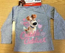 Girls Grey Long Sleeve T Shirt with Secret Life of Pets Cuddle Addict detail