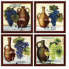 Grapes & Wine Tile Ceramic Accent Wall Tile Decorative Tile Made in U.K.