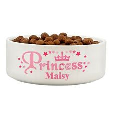 PERSONALISED WITH A NAME CERAMIC PRINCESS PET BOWL PICK 2 SIZES DOG CAT RABBIT