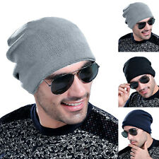 New Men's Teenagers Winter Casual Thick Hats Fleece Lined Beanie Ski Cap Hat