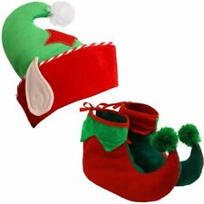 ELF HAT BOOTS CHRISTMAS FANCY DRESS COSTUME ADULT PIXIE GNOME SECRET SANTA