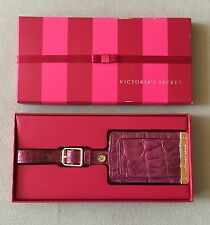 VICTORIA'S SECRET Dark Pink Faux Alligator Patent Leather Luggage Tag New In Box