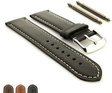 Extra Long Genuine Leather Watch Strap Band TWISTER Mens Stainless Steel Buckle