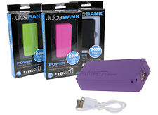 New JUICE BANK PHONE CHARGER Portable Charger Battery Backup 2400MAH Power Bank