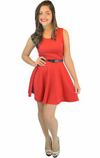 Labreeze Ladies Plain Red Skater Dress Prom Evening Office Casual Evening Dress