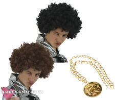 MENS 1970S AFRO WIG AND MEDALLION NECKLACE FANCY DRESS COSTUME ACCESSORY SET