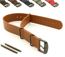 Genuine Leather Military Watch Strap Band NATO G10 MoD PVD SS Buckle Spring Bars